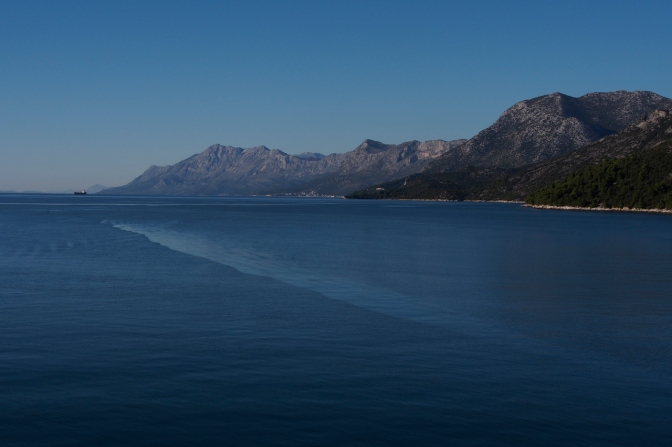 Looking north down the Dalmation coast from the ferry between Ploče and Trpanj.