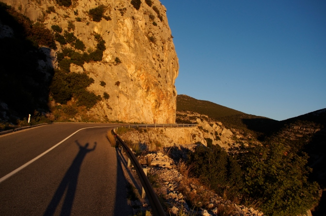 Sunset on the road down into Orebič.