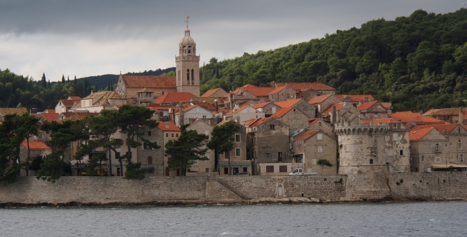 Approaching the walled city of Korčula.