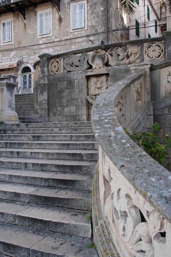 Stairwell in the walled city of Korčula.