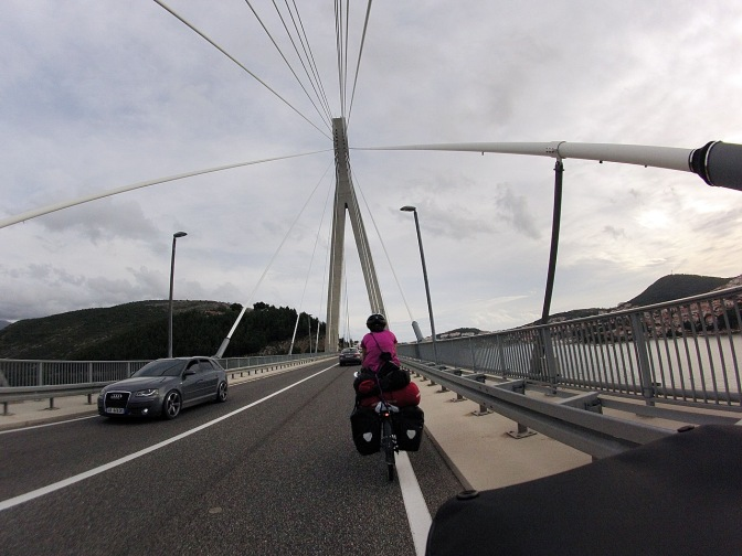 Riding across the Franjo Tudjman bridge into Dubrovnik.