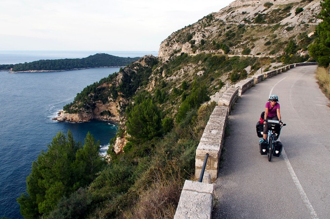 Riding an old road out of Dubrovnik.