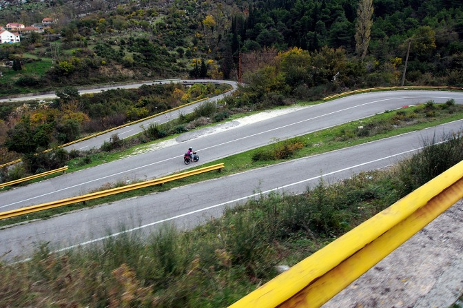 The hairpins along the road out of Kotor.