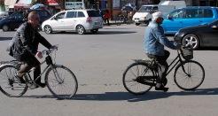 Cyclists in Shkodra.