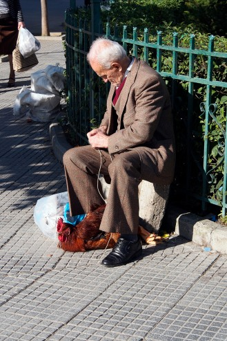 Man selling a chicken in Shkodra.
