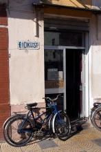 Bicycle repair shop in Shkodra.