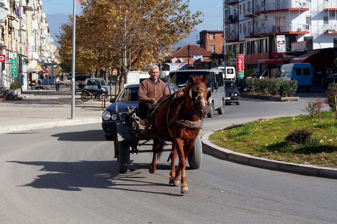 Horse and buggy still goes in Shkodra.