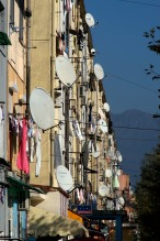 Apartment building in Shkodra. Everybody's connected.