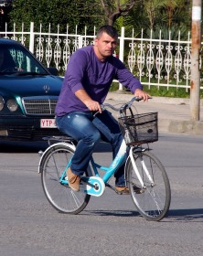 I think he borrowed his little sister's bicycle.
