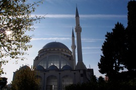 The mosque in downtown Shkodra.