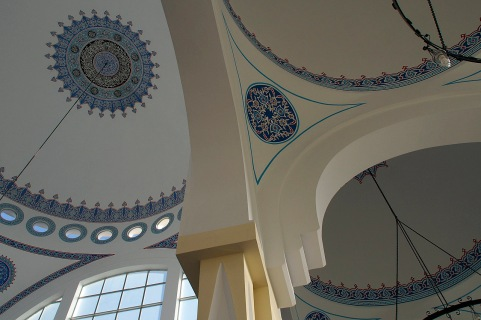 The interior of the mosque in downtown Shkodra.