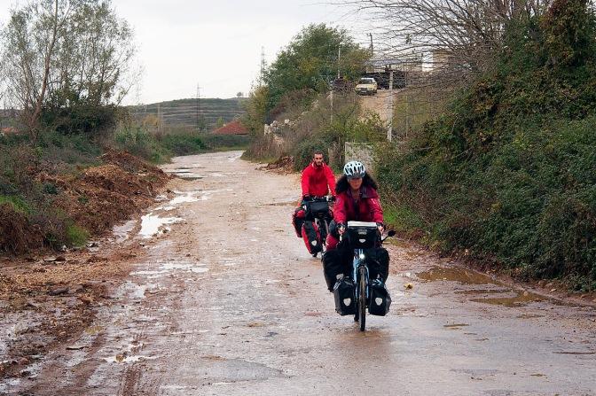 Jan and Alex riding the bad roads on the way to Fush' Kruj'ë.