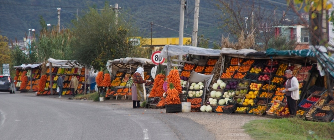 Produce stands along the highway.