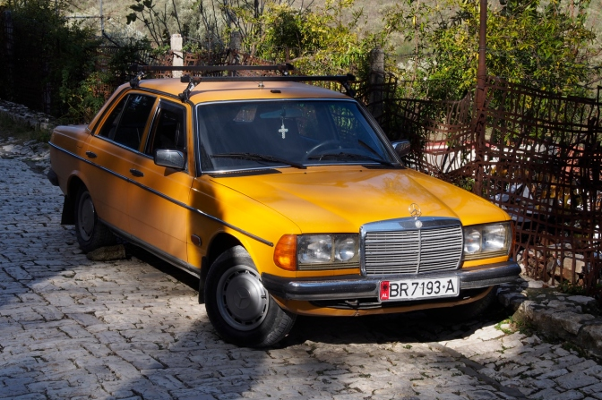 One of the many Mercedes 240D.
