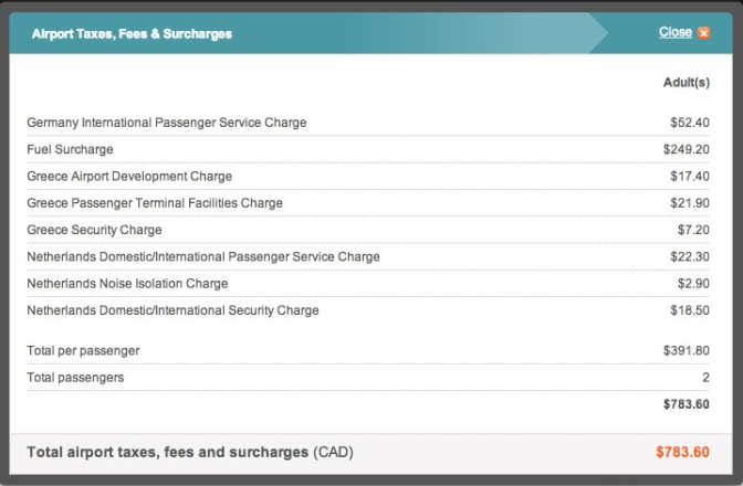 The fees and surcharges summary.