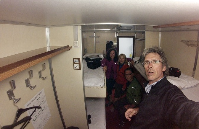 All four of us crammed into a sleeper cabin on the ferry from Ancona to Split, Croatia.