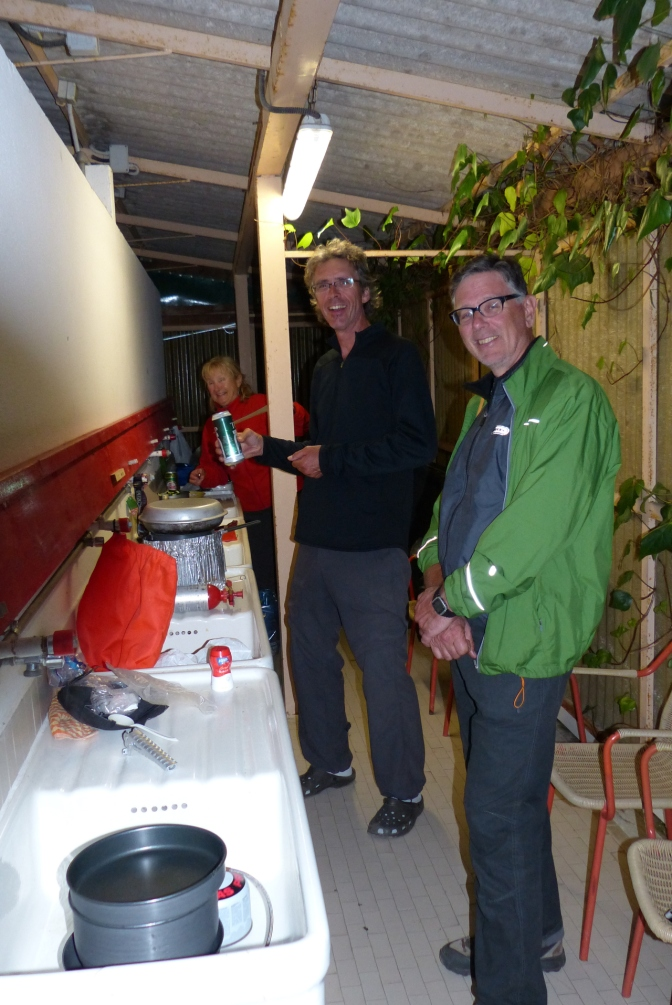 Cooking in the washroom at the campsite near Urbino.