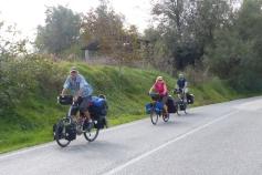 Paul, Ivona and Gary cycling toward Pesaro.