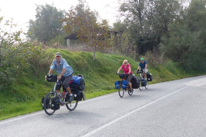 Paul, Ivona and Gary cycling toward Pesaro.