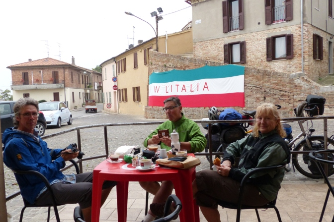 Having coffee in Colbordolo.