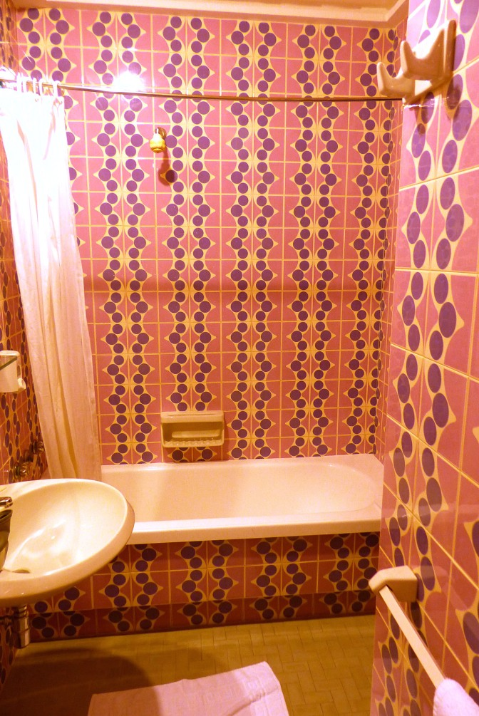 The amazing tile work in our bathroom in the Pesaro hotel.