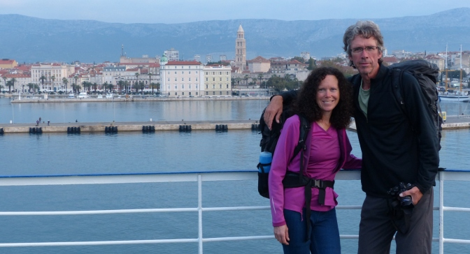 On the ferry arriving in Split, Croatia.