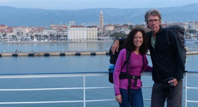 On the ferry arriving in Split, Croatia.