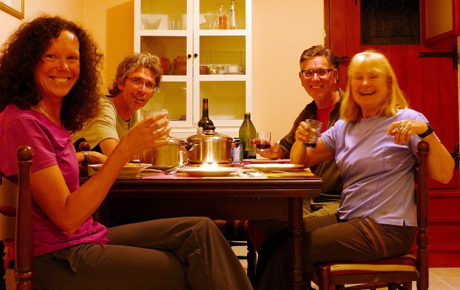 Having dinner in our rented apartment in Split.
