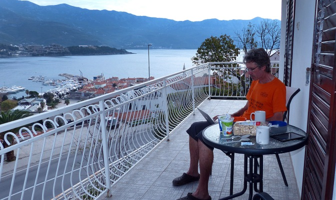Breakfast on our balcony in Budva.