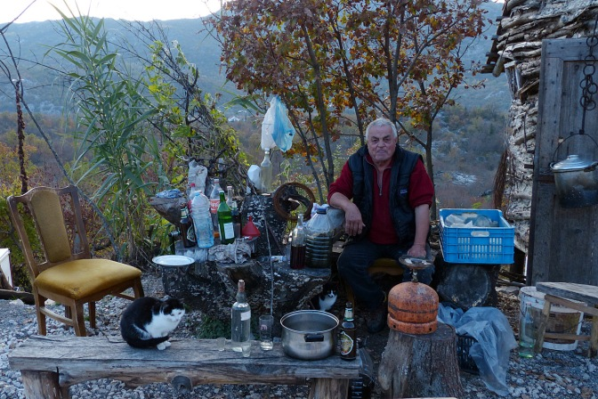 Selling Rakija along the road. He lived in Toronto for six years but came back to Montenegro.