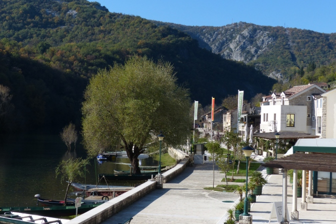 The nice waterfront promenade in Reijka Crnojevića.