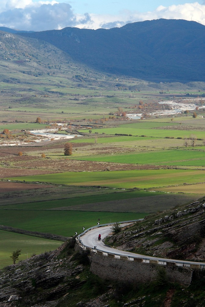 Jan in the curve with the Drinos River valley below.