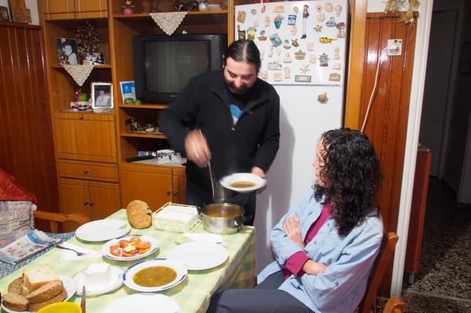 Yannis serving dinner.