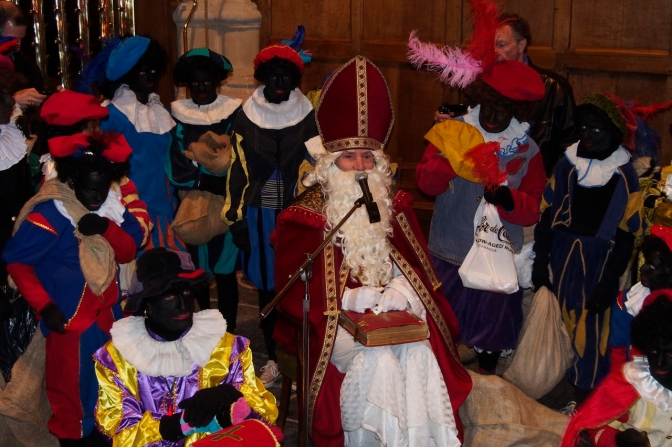 Sinterklaas with his zwarte Pieten.