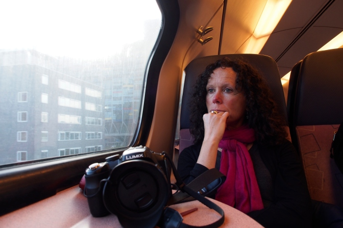 A contemplative moment on the train to Amsterdam.