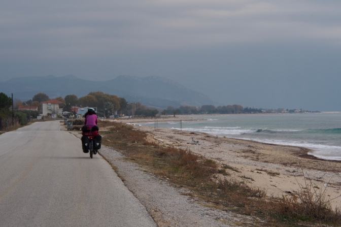 Along the beach heading toward Kavala.