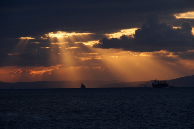Sunset over the Dardanelles Strait.
