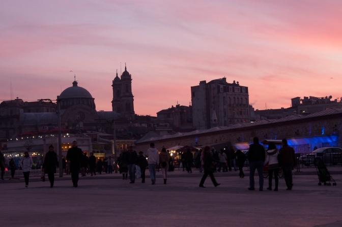 Sunset at Taksim Square in Istanbul.