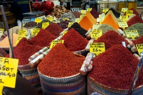Spices for sale in the Spice Bazaar.