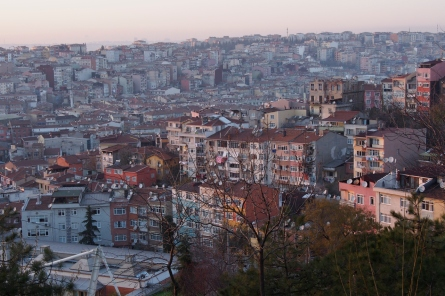 Looking over the Beyoglu neighbourhood of Istanbul at sundown.