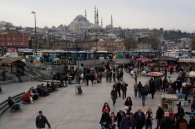 Transit hub at the south end of Galata Bridge.