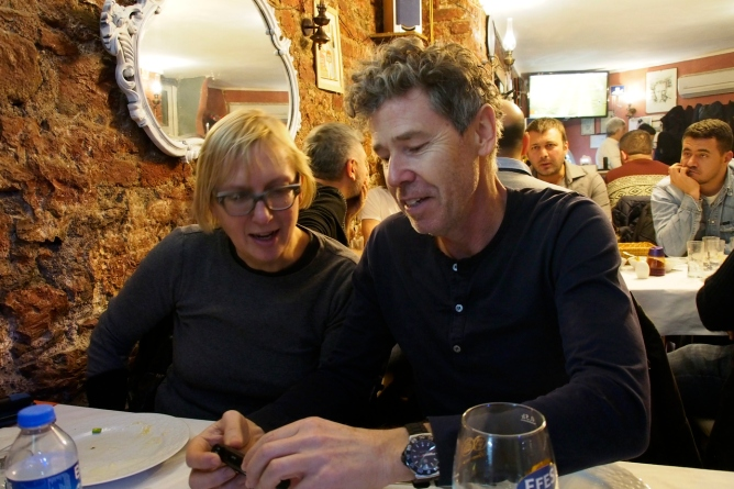 Lyle and Kathy at a neighbourhood restaurant.