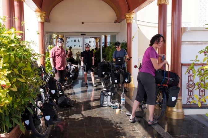 Packing the bikes in Muscat.