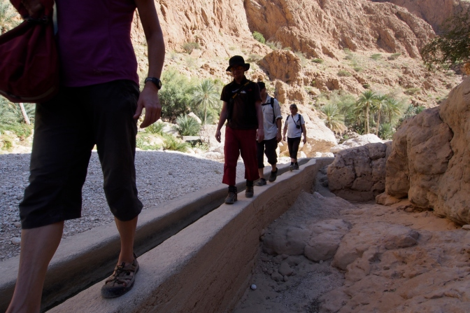 Hiking into Wadi Shab.