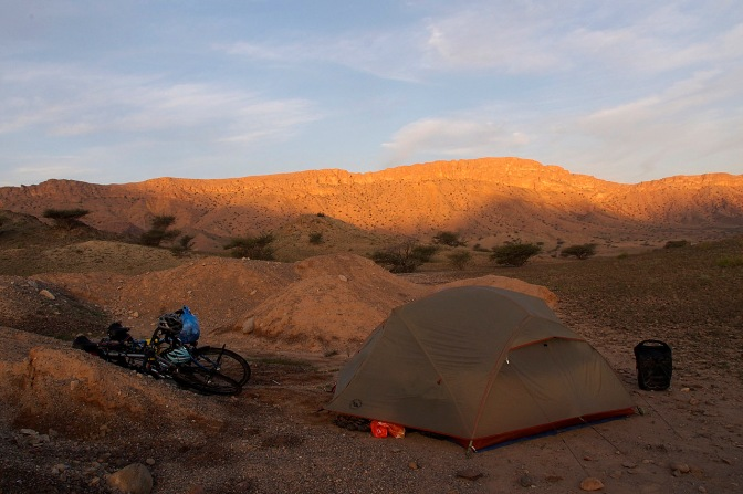Our last camp in Oman as the sun rises west of Fanja.