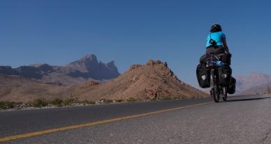 Jan heading up Jabal Shams from Al Hamra.