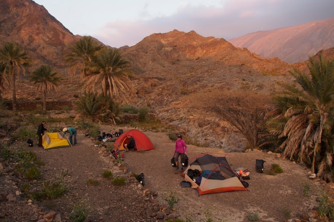 Camp in an oasis in the Jabal al Akhdar mountains on an uncharted road to Rustaq.