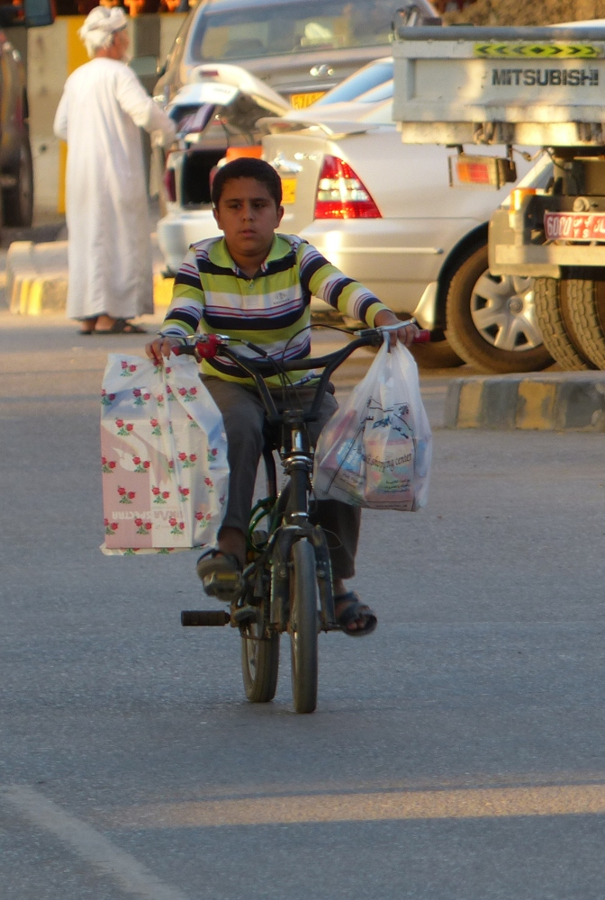 Boy riding home with groceries.