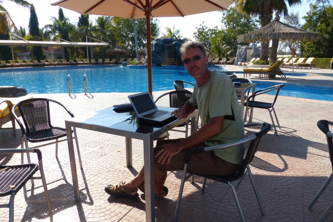 Blogging pool-side at Al Nahda Resort.