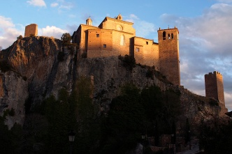 The monastery at Alquezar at sunset.